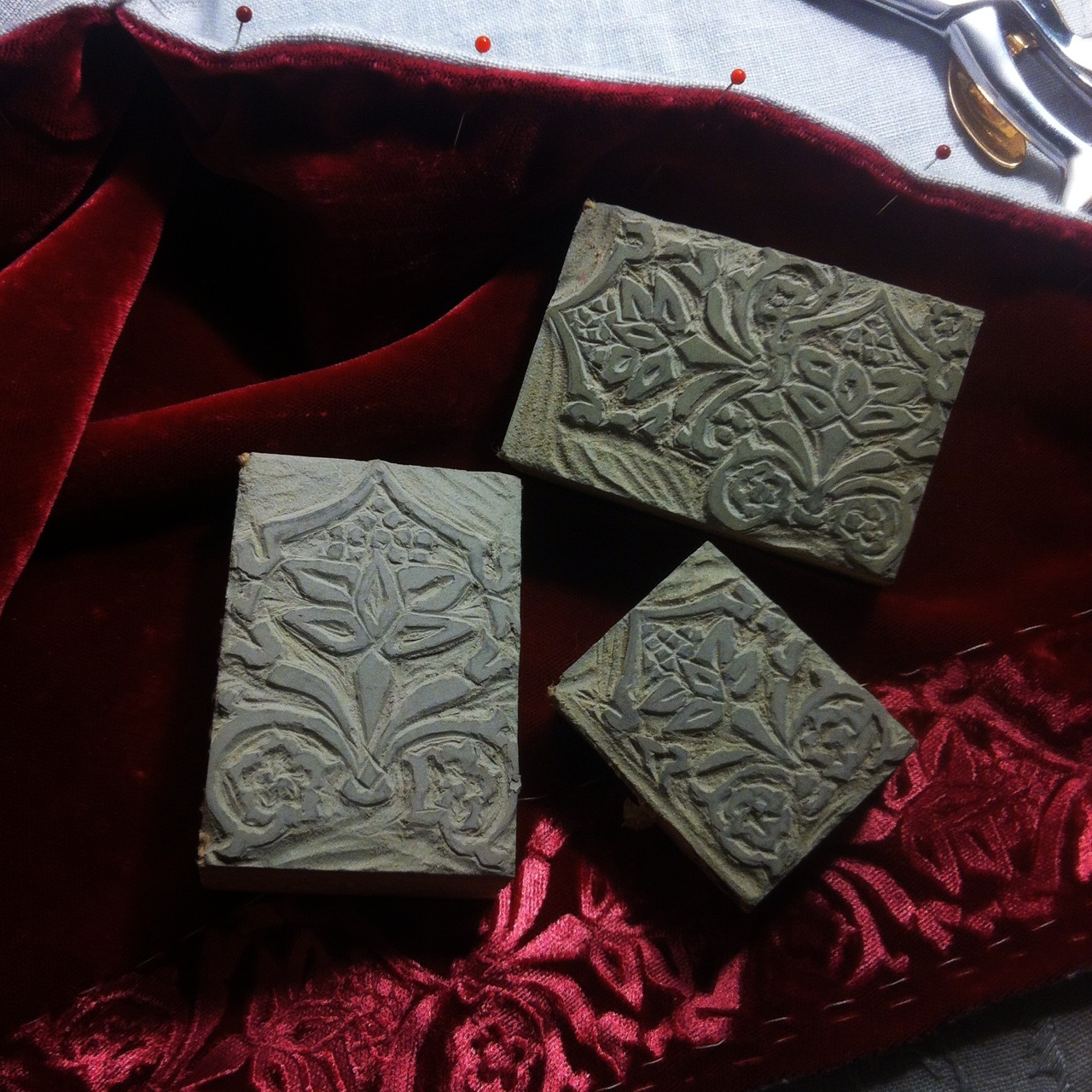 Stamps for embossing velvet
