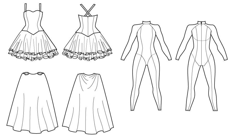 Design flats for the two-piece dress, cape, and seamed jumpsuit from The Hero's Closet by Gillian Conahan