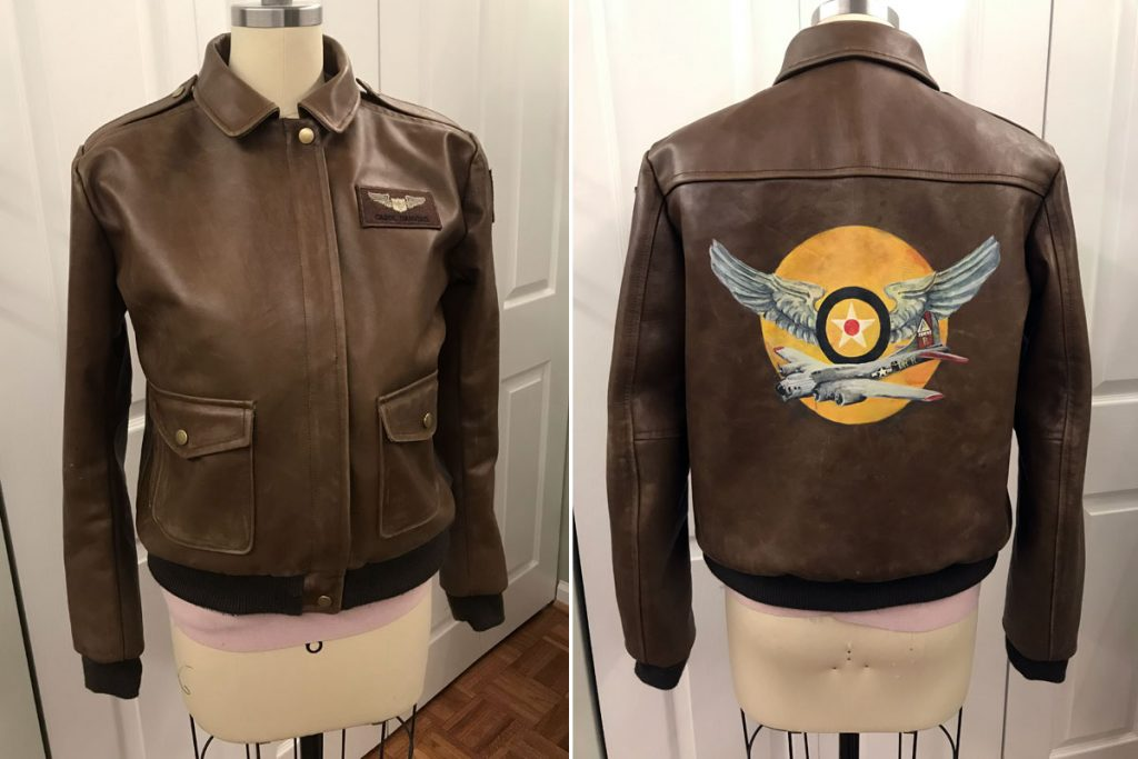 Front and back of replica Captain Marvel A-2 flight jacket made by Gillian Conahan for Becoming Captain Marvel