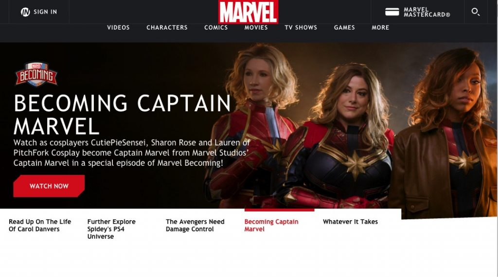 Screenshot of Marvel website with featured video Becoming Captain Marvel, featuring Pitchfork Cosplay, Sharon Rose, and CutiePieSensei