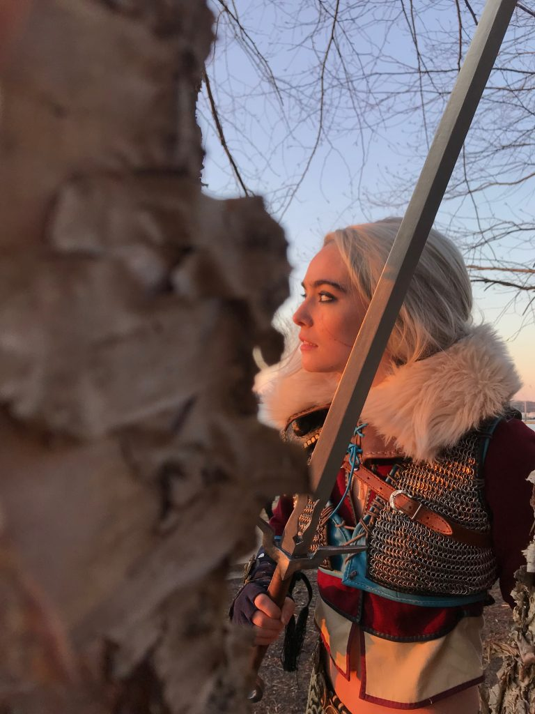 Ciri in the woods at sunset - cosplay by Gillian Conahan