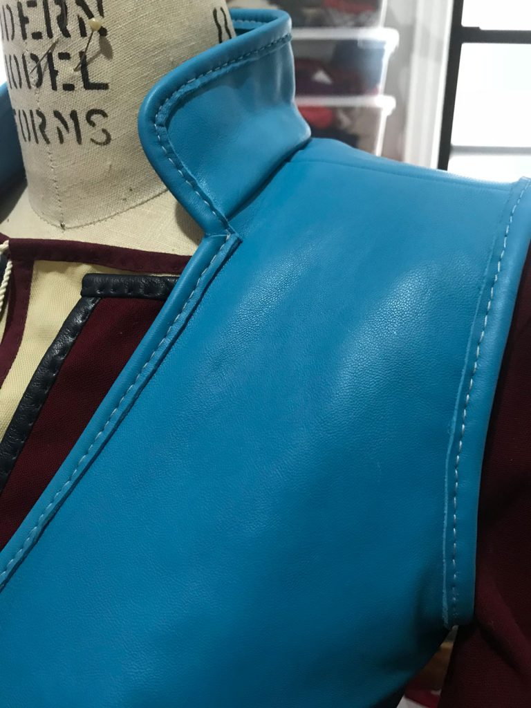 Detail of blue leather vest for ciri cosplay