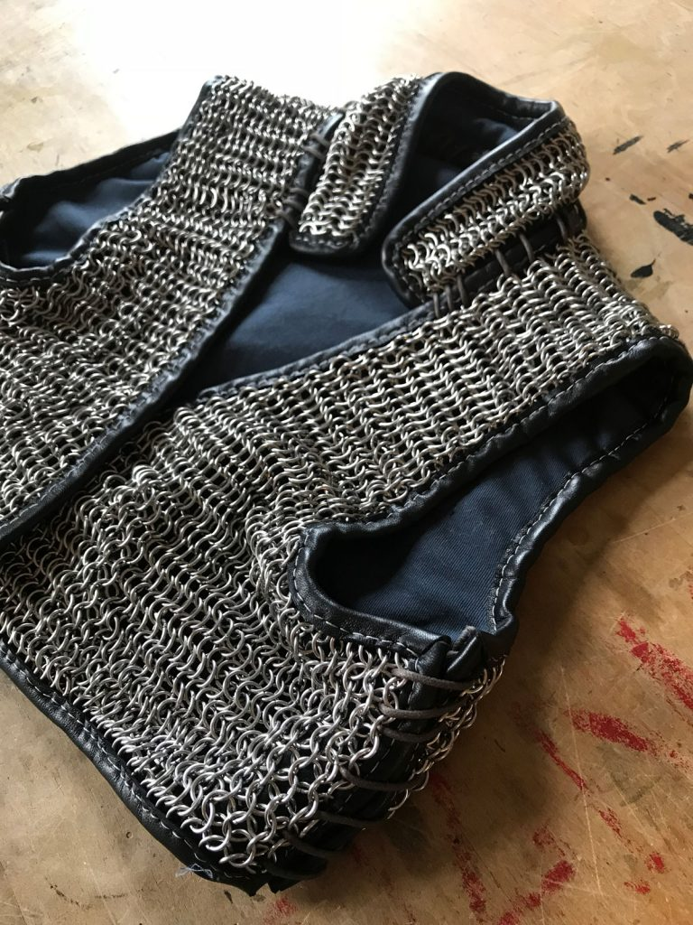 Chainmail vest completed and laced together