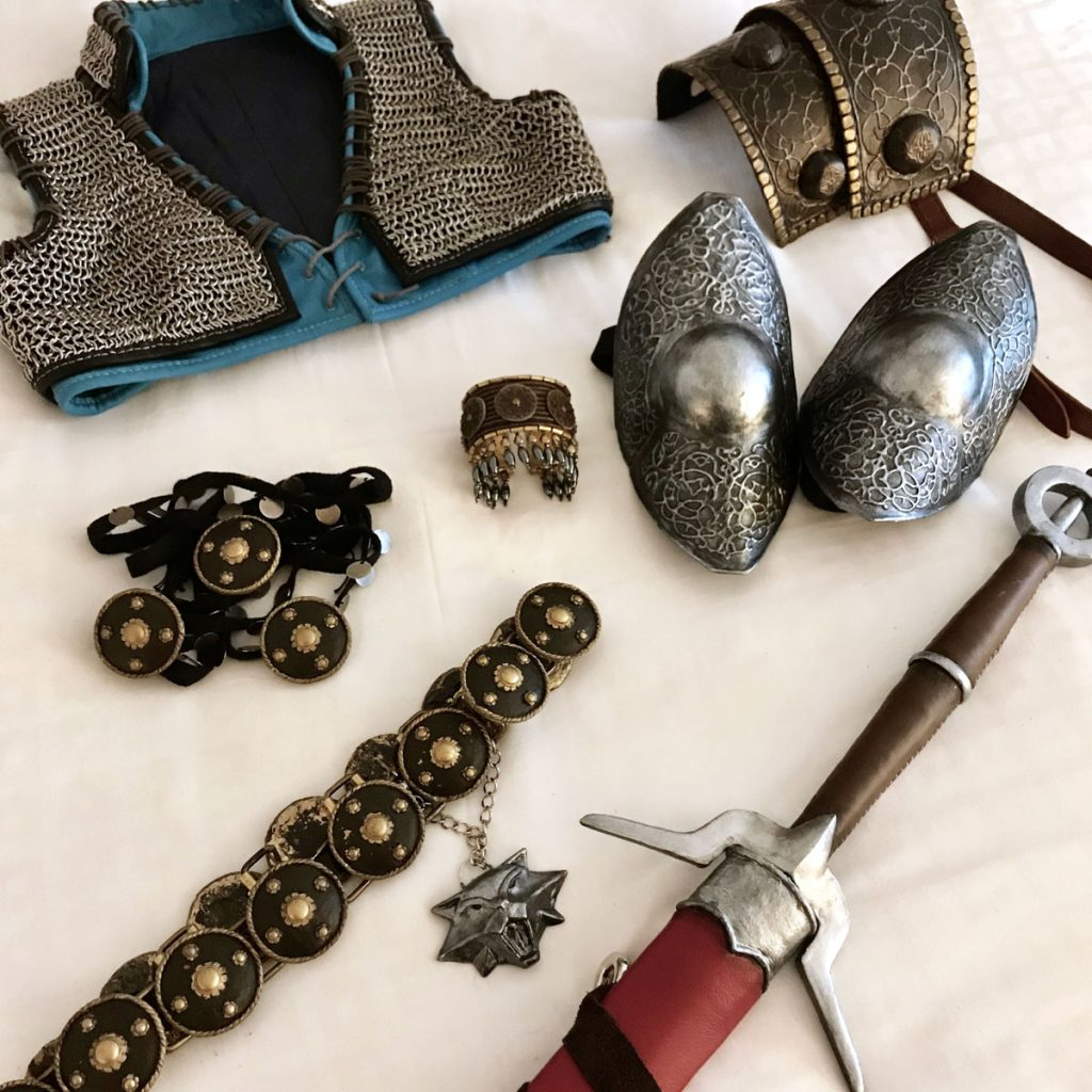 Ciri cosplay armor accessories and props laid out flat