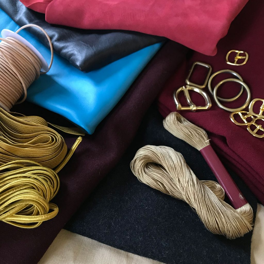 Leather, fabrics, trims, hardware, and embroidery thread for ciri cosplay