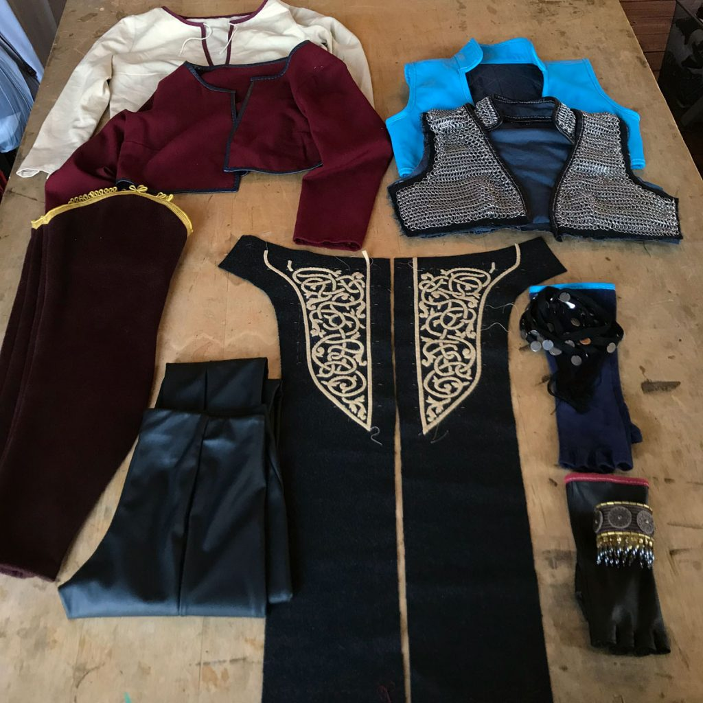 Ciri cosplay clothing items in progress laid out flat