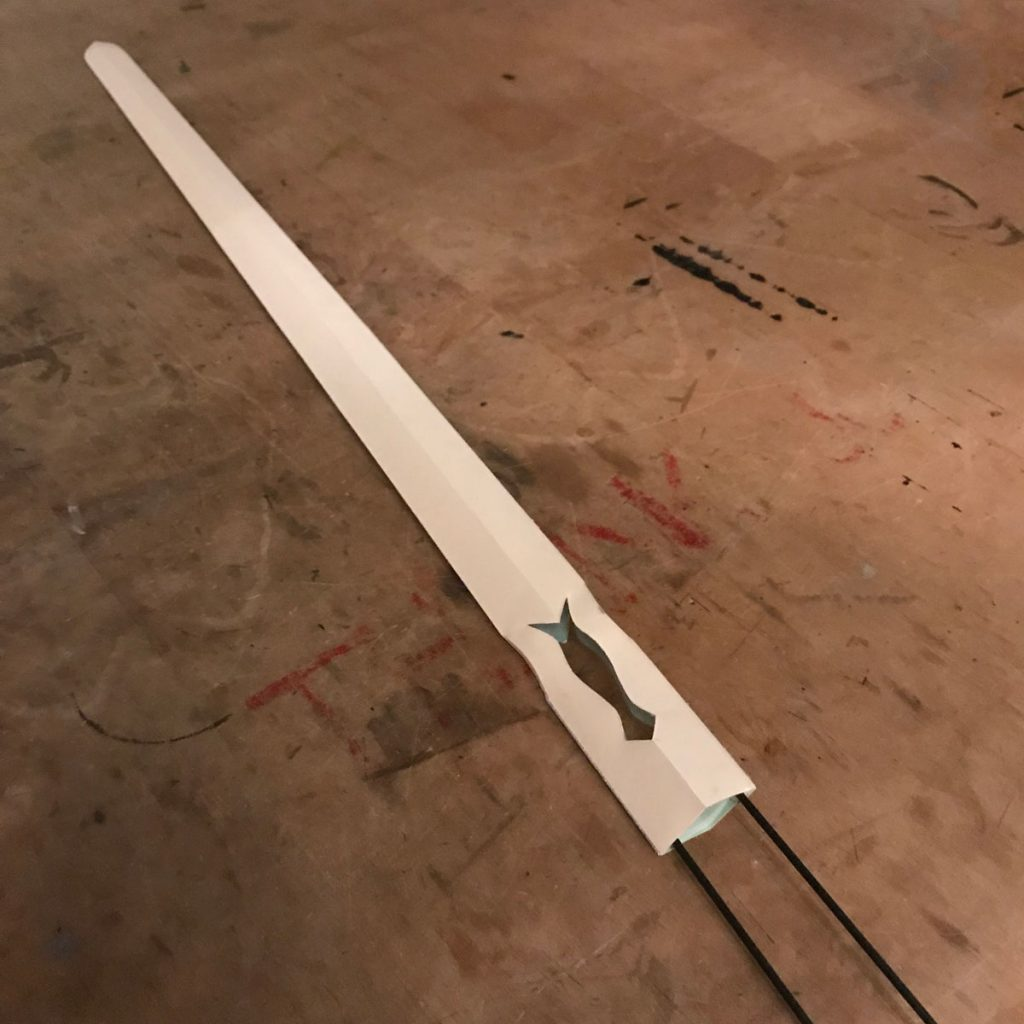 prop blade with support materials in place