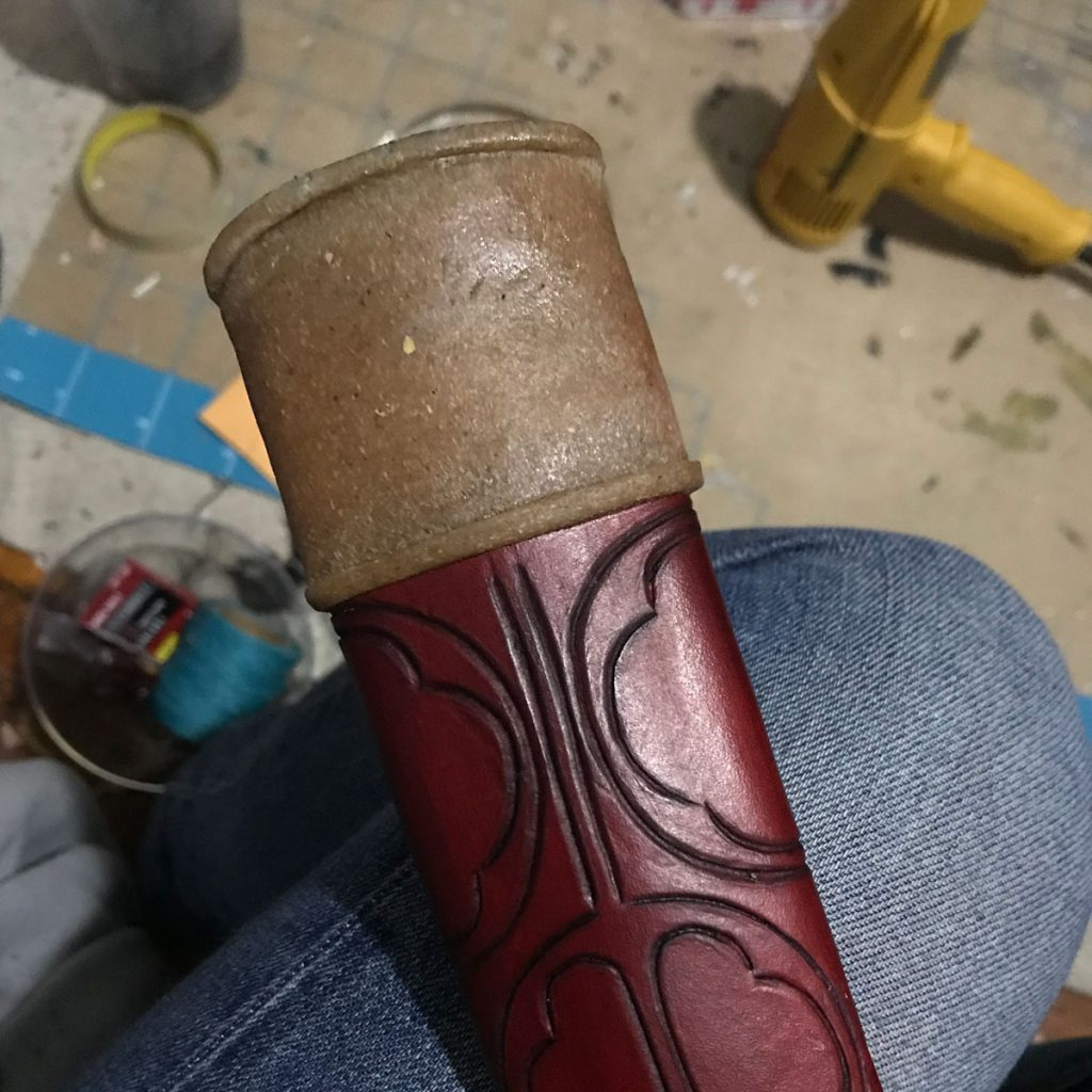 scabbard end cap sculpted in worbla