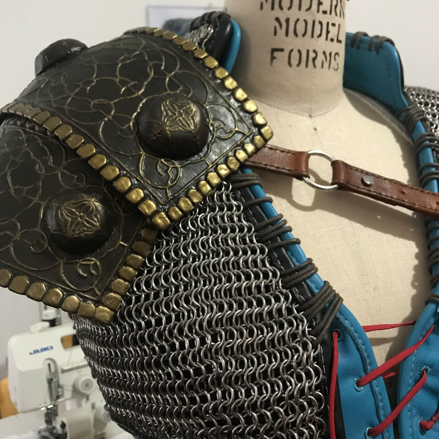 finished pauldron on dress form with mail vest
