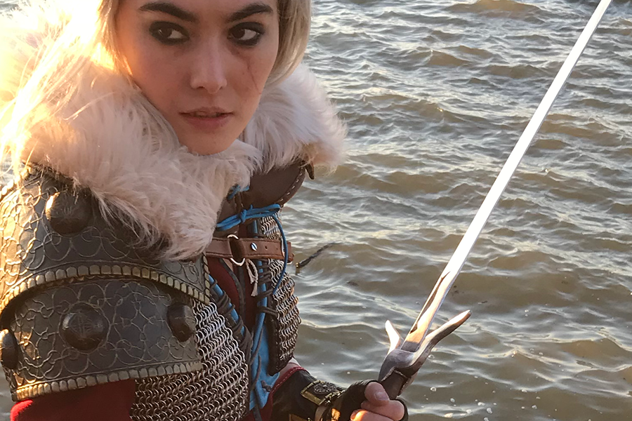 close-up of Ciri by the water - cosplay by gillian conahan, photo by @jacquistuffnthings