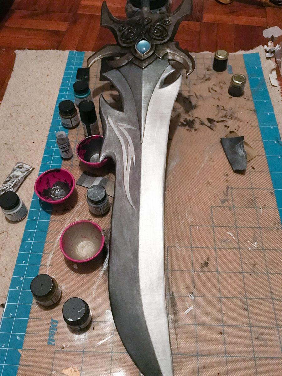 partially painted fantasy sword prop